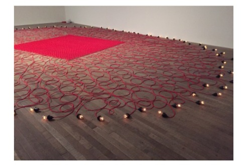 Mona Hatoum, Undercurrent (red), 2008, photo by Mat Smith, at Tate Modern