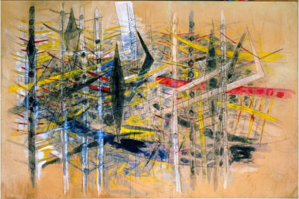 Wifredo Lam, Untitled (La Brousse), 1958, mixed media on paper pasted