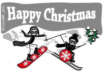 From 2012 Archive: Have a Cool Yule Illustration by Hannah Ensor of Stickman Communications