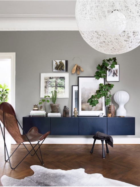 Example of minimalist wal-hanging cabinets, sourced via Australian magazine, Belle.
